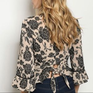 DO+BE Tops - NWT Floral Peplum Blouse with flouncy sleeves